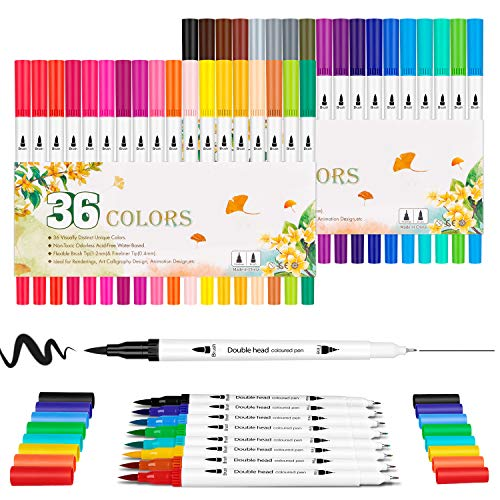 Set de rotuladores de punta doble - Set Hethrone de 36 rotuladores de colores, punta de fieltro, Fineliner para adultos, para colorear libros, agendas, tomar notas, lettering, pintura y caligrafía.