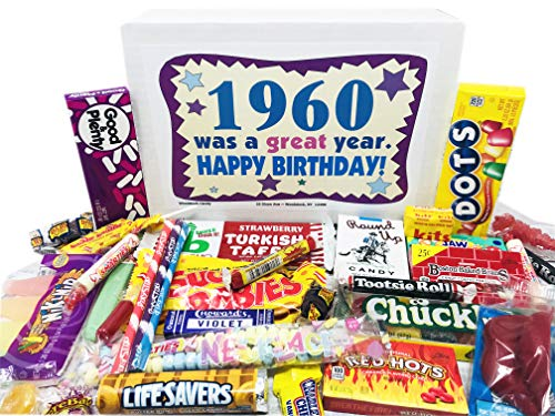 Woodstock Candy ~ 1960 60th Birthday Gift Box Nostalgic Retro Candy Mix from Childhood for 60 Year...