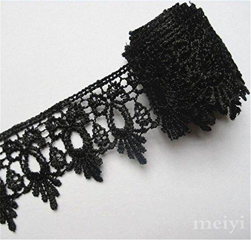 Cinta de encaje de poliéster de 5 m de ancho, estilo clásico, color negro, bordado, para costura, vestido, boda, decoración, bordado, ropa