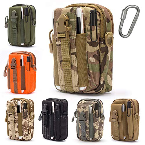 Lightbare Tactical Molle Pouch Multipurpose EDC Waist Bag Pack, Outdoor Men Compact Gadget Utility Belt with Cell Phone Holster Holder (CP CAMO)