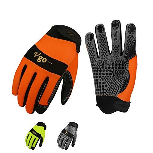 Vgo Guanti, 3 paia, guanti da lavoro uomo in pelle, guanti da meccanico, giardino, multifunzione (9/L, Grigio & Arancio & Verde, SL7895)