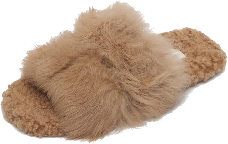 August Jim Women's Winter Flats shoes,Faux Fur Slippers Warm Fussy Flip Flop House Slippers