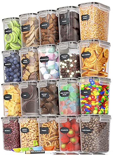 Chef's Path Airtight Food Storage Containers Set - 20 PC/Small Size - 1.6L/ 54oz - Kitchen & Pantry Organization, Ideal for Snacks, Flour & Sugar - BPA-Free - Plastic Canisters with Marker & Spoon Set