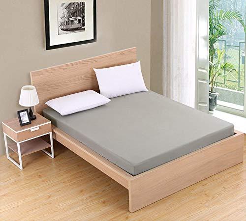 XGguo Protector de colchón/Cubre colchón Acolchado de Fibra antiácaros, Transpirable, Sábana cepillada Pure Color-Gris_120X200cmX25