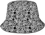 Sombrero de pescador sombrero de caza y pesca gorras estilo de moda deportes al aire libre, rayas blancas y negras corazones-negro y blanco diseño Trippy