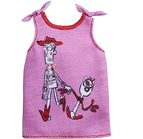 Barbie Clothes: Disney and Pixar Toy Story 4 Character Top Dolls, Pink Tank with Woody & Forky Graphic, Gift for 3 to 7 Year Olds