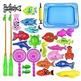 Amasawa 28 Piezas Juego de Pesca Magnética,Juguete de Pesca,Baño Infantil y Juguetes de Piscina y Baño,Juguete Playero Educativo Juego de Reflexión Juguete de Playa