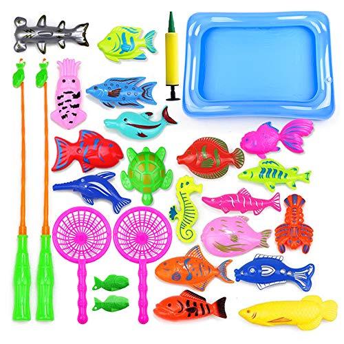 Amasawa 28 Stück Angelspielzeug, Badespielzeug, Badewanne Lernspielzeug, Geeignet Zum Angeln,Angelspielzeug Badespielzeug Wasserspiele Perfekte Lernspiele für Kinder Geschenke