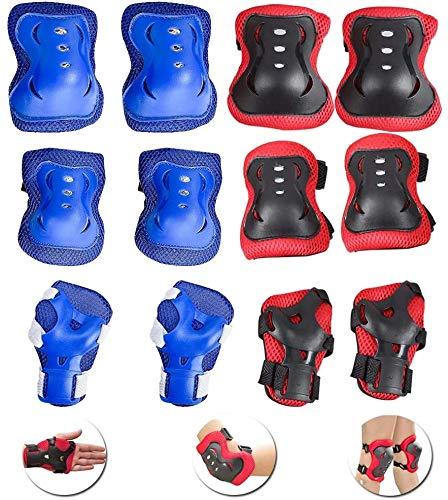 Conjuntos de protección de rodillos, 12pcs Conjuntos de protección infantil conjuntos de rodilla, almohadillas de codo, guardias de muñeca para ciclismo Skateboard BMX Roller Skating Blue and Reding B