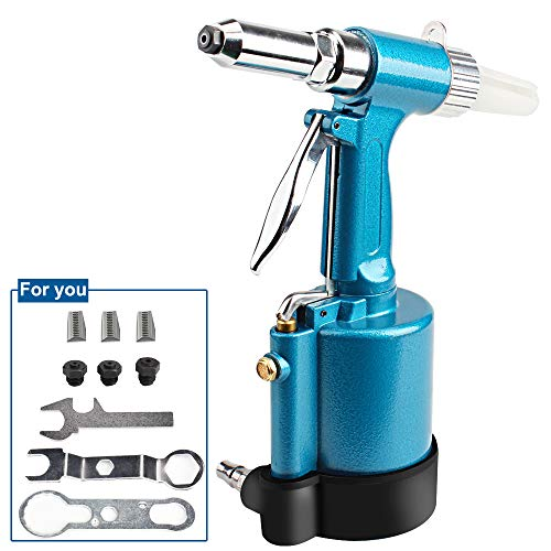 DoubleSun Heavy Duty Air Hydraulic Riveter-Professional Pop Pneumatic Riveting Gun Rivet Tool with Nose Pieces