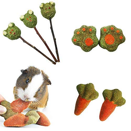 ZLLOO Masticar Juguetes para Hámsters Incluye Pasteles de Hierba y piruletas con Forma de Hierba para los Conejos, Chinchilla, Hámsters, Cobayas(7 Piezas)