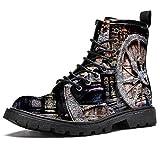 Botas de invierno con estampado de rueda de carruaje marrón para mujeres y niñas, botas de nieve cálidas de alta parte superior del tobillo con cordones para la escuela, color Multicolor, talla 39 EU