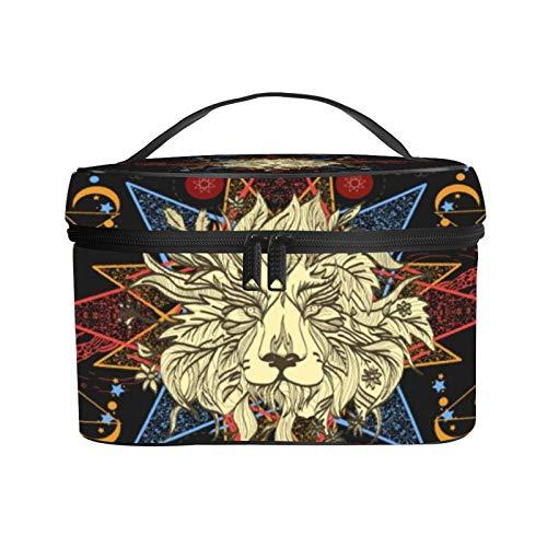 Bolsa de maquillaje para carpas de León, bolsa organizadora de viaje, bolsa grande portátil con cremallera, bolsa de almacenamiento de artículos de tocador, bolsa de cuero, para mujeres, niños y niñas