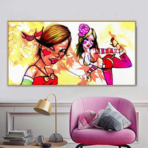 PLjVU Personaje niña Graffiti Arte Callejero Personaje Lienzo Pintura Cartel impresión Pared Arte Imagen niña habitación de los niños decoración del hogar-Sin marco60x120cm