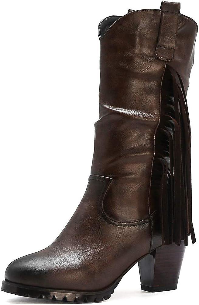 Vimisaoi Super Special SALE held Miami Mall Women's Round Toe Cutout Slip Tassel On Mid-Calf Boots