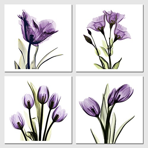 Pyradecor Elegant Purple Flickering Flower Canvas Prints Wall Art Grace Floral Pictures Paintings for Living Room Bedroom Office Home Decorations 4 Panel Modern Abstract Gallery Wrapped Artwork