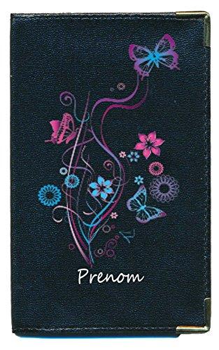 Pochette Etui Protection Porte Carte Grise - papiers Voiture - permis de Conduire Floral personnalisé avec prenom ou surnom