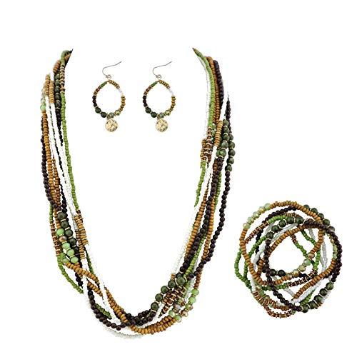 BOCAR Long Multiple Strand Handmade Beaded Statement 26' Necklace for Women (NK-10563)
