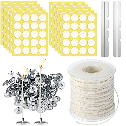 12.5 mm Hot Wax Wick Stickers for Candle Making Accessory 200 Pieces Candle Metal Wick Sustainer Tabs and 100 Pieces Candle Wick Stickers 200 Feet Hemp Candle Wick