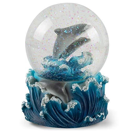 Elanze Designs Verspielte Delfine, 100 mm Wasserkugel spielt Melodie Blue Daube Walzer