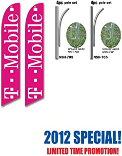 2 Pack of T-Mobile Tmobile Wireless Advertising Feather Banner Swooper Flag Signs with Flag Pole Kits and Ground Stakes