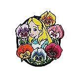 Alice in Wonderland Flowers Iron On Patch Disney Cartoon Embroidered Applique