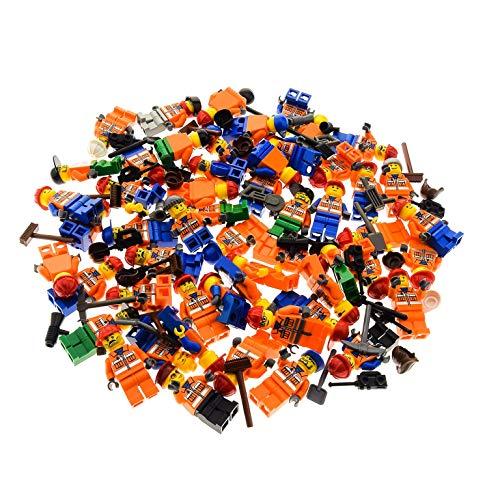 LEGO 5 x System City Mini Figuren Figur Torso orange Bedruckt BAU Arbeiter Jacke Reflektor Streifen mit Zubehör Kopfbedeckung zufällig gemischt