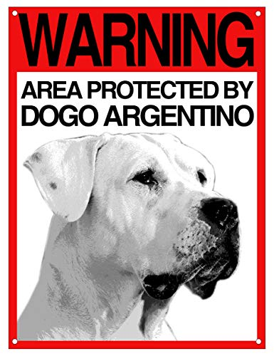Lovelytiles Dogo Argentino Targa ATTENTI al Cane Cartello Warning Area Protected BY