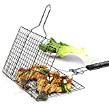 Yeeteching Grill Basket, Non Stick Portable 430 Grade Stainless Steel with Removable Wooden Handle for Fish, Steak, Meat, Vegetables, Grill Basket for Outdoor BBQs, Kitchen & Camping