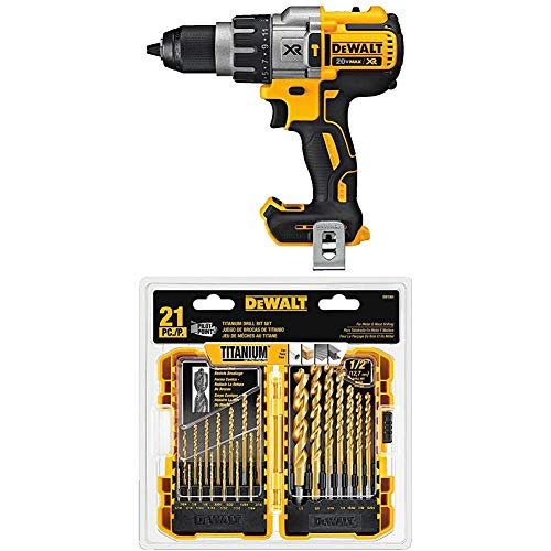 DEWALT DCD996B Bare Tool 20V MAX XR Lithium Ion Brushless 3-Speed Hammer Drill (Tool Only) with DEWALT DW1361 Titanium Pilot Point Drill Bit Set, 21-Piece