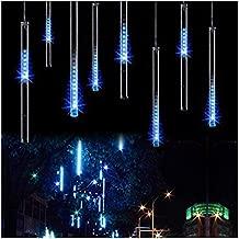 OMGAI 50CM 12 Tubes 576 LED Meteor Shower Rain Lights - Waterproof Drop Icicle Snow Falling Raindrop Cascading Lights for Garden Wedding Party Christmas Shine Blue