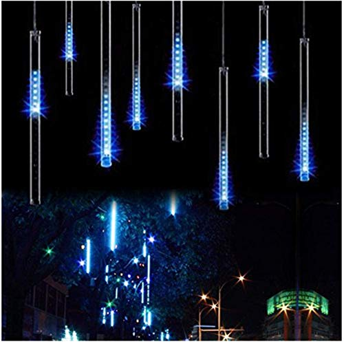 OMGAI 50CM 12 Tubes 576 LED Meteor Shower Rain Lights - Waterproof Drop Icicle Snow Falling Raindrop Cascading Lights for Garden Wedding Party Christmas Shine Blue