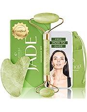 Premie gecertificeerde Jade Roller voor huidverzorging - 100% natuurlijke jade steen - Anti- veroudering gezichtsmassage roller met Gua Sha Steen sloopgereedschap - Rejuvenates Gezichtshuid en vermindert dubbele kin en rimpel