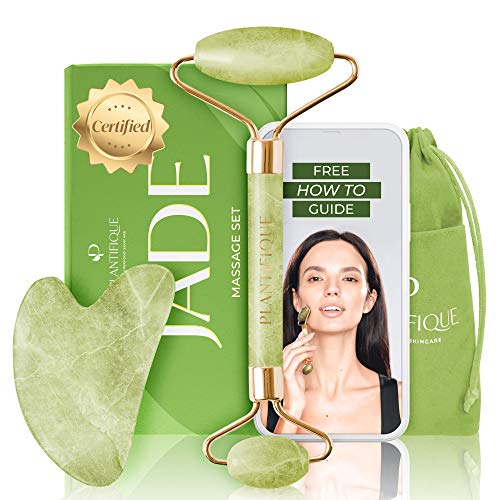 Premium Certified Jade Roller for Skin Care - 100% Natural Jade Stone - Anti Aging Jade Face Roller with Gua Sha Massage Tool - Rejuvenates Face Skin and Diminishes Double Chin & Wrinkle