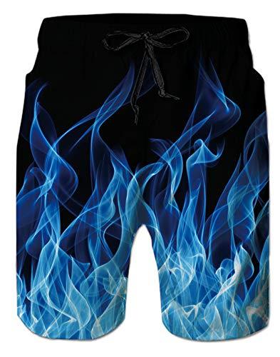 Spreadhoodie Feuer Badeshorts für Herren Sommer 3D Blau Badehose Schnelltrocknend Gemälde Kurze Hose Sport Surf Shorts XL