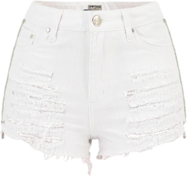 Ladies High Waisted Zipper On Both Sides Denim Shorts Summer Fashion Back