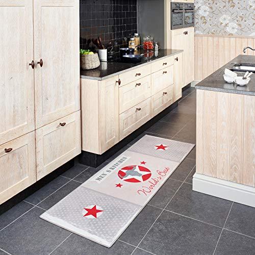 Carpet Studio Alfombra de Cocina y Exterior 65x180cm, Respaldo de látex Antideslizante, Fácil de Mantener, Resistente a Suelos Radiantes y al Agua, Men's Kitchen