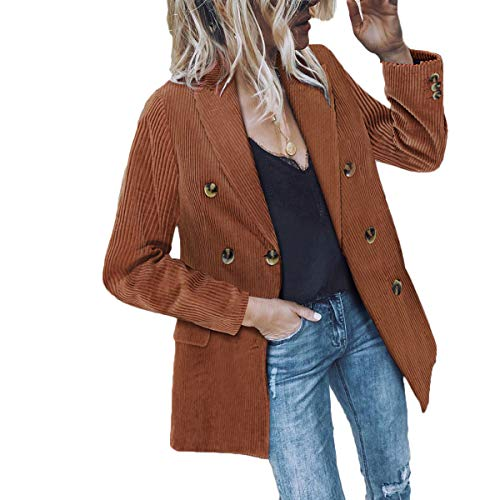 Women's Double Breasted Corduroy Jacket Casual Notch Lapel Loose Fit Work Blazer with Pockets (Khaki, M)