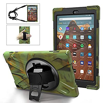 MoKo Case Fits Fire HD 10 Tablet (7th/9th Generation, 2017/2019 Release), PC + TPU Full-Body Rugged Back Cover 360 Degree Rotating Kickstand Shell with Shoulder Strap and Hand Strap