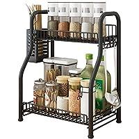 2ティアスパイスは、その他、各種ジャー、ボトル、カトラリー用オーガナイザーキッチンストレージカウンター棚用具ホルダーラック black