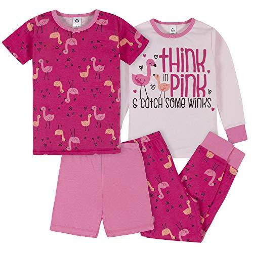 Gerber Baby Girls' 4-Piece Pajama Set, Pink Flamingo, 3T