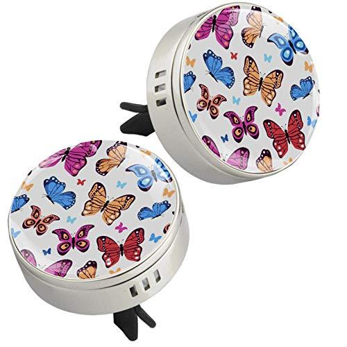 2 medallones con diseño de mariposas coloridas, difusor de aceites esenciales para coche, cierre magnético, con clip de ventilación, 4 almohadillas de repuesto (plata)