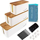 Office Cool Cable Management Box Set of 3, Minimalist Under Desk Cable Management Boxes with Accessories Bundle, Anti Slip Cord Organizer Wire Cover and Computer Wire Holder with Cable Sleeve