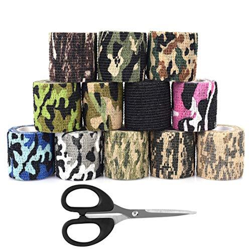 confezione da 5 Cling per fucili da caccia Camping da caccia deserto Benda adesiva protettiva per bendaggio elastico Nastro militare mimetico dellesercito MHOYI Camo Wrap Tape
