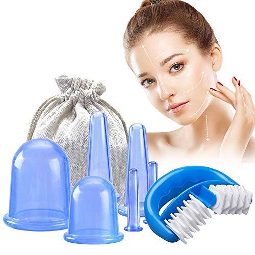 Silikon Schröpfen Therapie Set Cellulite Entferner Massagegerät mit 1 einer Massage-Rolle und 6 Silikon Vacuum Tassen Schröpfgläser Anti Aging, für Körper und Gesicht inkl - Blau