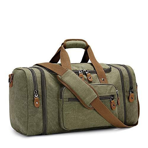 Plambag Expandable Canvas Holdall Bag for Men, 40L / 50L Large Duffel Bag for Men with Multi-pockets, Overnight Weekend Bag, Unisex Holdall Travel Duffle Bag, Weekender Bag for Men & Women, Army Green