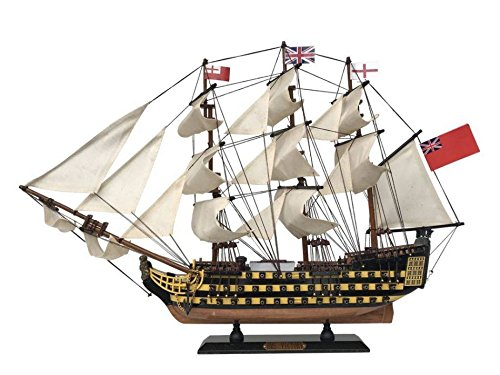 """Handcrafted Nautical Decor HMS Victory Wooden Tall Model Ship 24"""" - Model Warship - Not a Kit"""