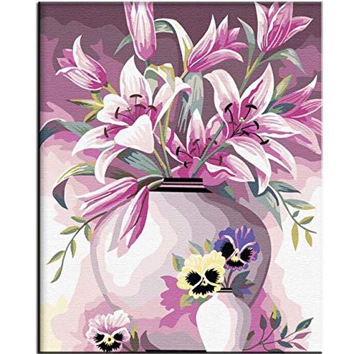 LiMengQi DIY malen nach Zahlen vase handgemaltes ölgemälde auf leinwand wandkunst für Wohnzimmer acrylmalerei (Kein Rahmen)
