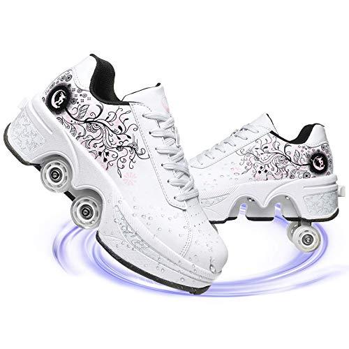 Rong-- Deformación 4 Rueda Patines En Paralelo Zapatos Los Patines De Hielo Polea Zapatos Multifuncional Deformación Patinaje sobre Ruedas,White Pink,EU 39(US 8.5)