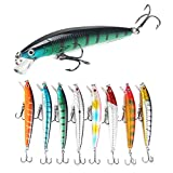 ROZKITCH 8 Pcs Fishing Lures Minnow Lures Topwater Baits Jigs Set for Bass Trout Salmon Saltwater\/Freshwater Minnow Fishing Baits Kit, Length 3.9 Inches